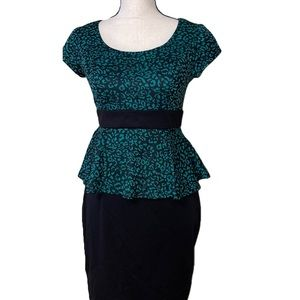 Iz Byer leopard print black teal peplum dress NWT